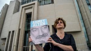 Journalist holding a placard bearing the likeness of Ahmet Altan stands in front of Istanbul courthouse on 19 June 2017 (photo: Getty Images/AFP/O. Kose)
