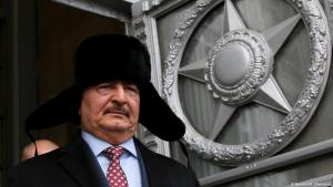 Libyaʹs General Khalifa Haftar emerges from a meeting with Russian Foreign Minister Sergei Lavrov in Moscow, November 2016 (photo: Reuters/M. Shemetov)