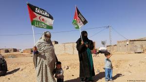 Women in Tindouf refugee camp mark the 43rd anniversary  of the Sahrawi Arab Democratic Republic (photo: Hugo Flotat-Talon)