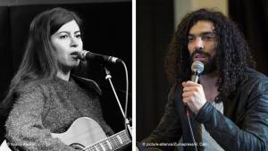 Photomontage Farzane Zamen and Ramy Essam (photo: Najma Abukar/picture-alliance/Zumapress)