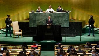 Egypt's President Abdul Fattah al-Sisi addresses the 74th session of the United Nations General Assembly at U.N. headquarters in New York City, New York, United States on 24 September 2019 (photo: Reuters/L. Jackson)