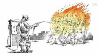 Cartoon on protests in Iran (source: Deutsche Welle)